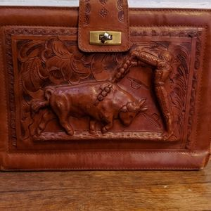 Vintage Spanish Leather handbag cognac/Brown Matad